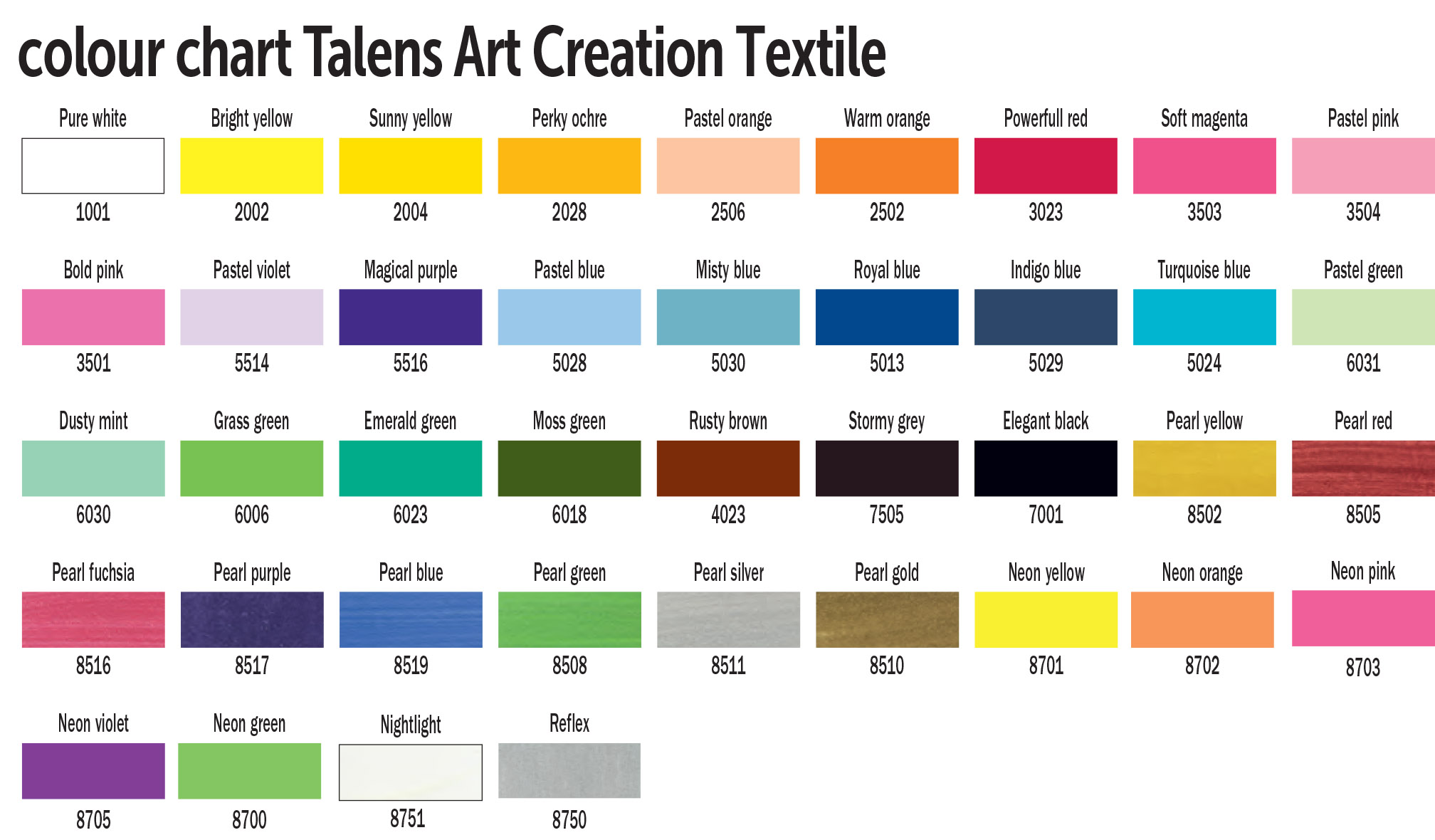 TAC  Textile colour chart